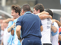 Argentina forward Lionel Messi (10) celebrates with teammates his score in the 84th minute of the game.  The Argentina National Team defeated Brazil 4-3 at MetLife Stadium, Saturday July 9 , 2012.