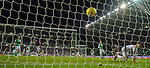 03.03.2020 Hibs v Hearts: Sean Clare scores from the penalty spot and celebrates
