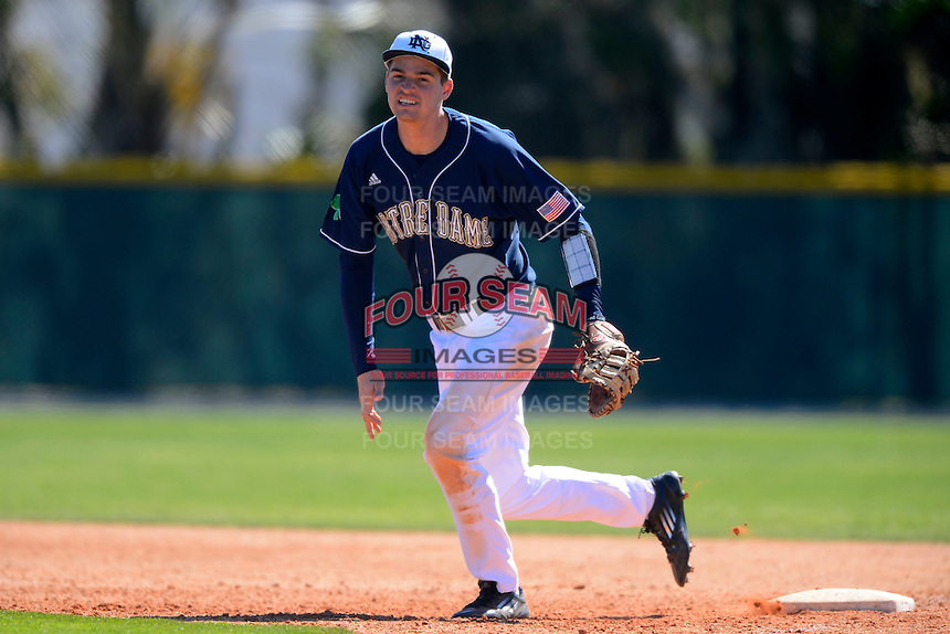 Notre Dame Fighting Irish first baseman Trey Mancini #3 during a game against the Mercer Bears at the Buck O'Neil Complex on February 17, 2013 in Sarasota, Florida.  Mercer defeated Notre Dame 5-4.  (Mike Janes/Four Seam Images)