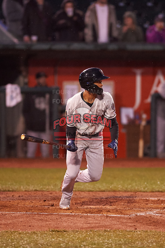 Wisconsin Timber Rattlers Yeison Coca (1) at bat during a Midwest League game against the Lansing Lugnuts at Cooley Law School Stadium on May 2, 2019 in Lansing, Michigan. Lansing defeated Wisconsin 10-4. (Zachary Lucy/Four Seam Images)
