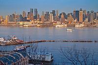 Port and piers in Hudson river in upper Manhattan