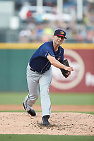 Toledo Mud Hens starting pitcher Jacob Turner (46) delivers a pitch to the plate against the Charlotte Knights at BB&T BallPark on June 22, 2018 in Charlotte, North Carolina. The Mud Hens defeated the Knights 4-0.  (Brian Westerholt/Four Seam Images)