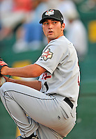 3 September 2008: Tri-City Valley Cats pitcher Robert Bono warms up prior to a NY Penn-League game against the Vermont Lake Monsters at Centennial Field in Burlington, Vermont. The Lake Monsters defeated the Valley Cats 6-5 in extra innings. Mandatory Photo Credit: Ed Wolfstein Photo