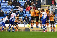 John Swift of Reading left takes a free kick but it hits the Hull City  wall during Reading vs Hull City, Sky Bet EFL Championship Football at the Madejski Stadium on 8th February 2020