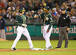 Jed Lowrie and Tye Waller<br /> Boston Red Sox at Oakland A's at O.Co coliseum in Oakland, June 20, 2014