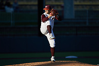 Virginia Tech Hokies starting pitcher Peyton Alford (30) in action against the Georgia Tech Yellow Jackets at English Field on April 16, 2021 in Blacksburg, Virginia. (Brian Westerholt/Four Seam Images)