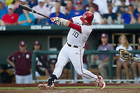 Indiana Hoosiers catcher Kyle Schwarber (10) swings the bat against the Mississippi State Bulldogs during Game 6 of the 2013 Men's College World Series on June 17, 2013 at TD Ameritrade Park in Omaha, Nebraska. The Bulldogs defeated Hoosiers 5-4. (Andrew Woolley/Four Seam Images)