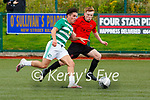 Wayne Sparling Killarney Celtic takes on David O'Callaghan St Brendans Park during their cup clash in Celtic Park on Sunday