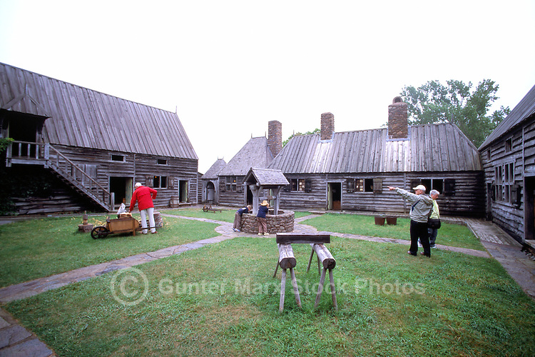 Port-Royal National Historic Site (NHS), Annapolis Royal, NS, Nova Scotia, Canada - Inner Courtyard of Reconstructed 17th Century French Habitation - Fundy Shore & Annapolis Valley Region
