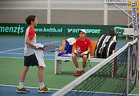 Rotterdam, The Netherlands, 15.03.2014. NOJK 14 and 18 years ,National Indoor Juniors Championships of 2014, Amadatus Admiraal (NED) (R) and Sander Jong at changeover<br /> Photo:Tennisimages/Henk Koster