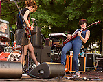 Raleigh, North Carolina- August 11, 2017<br /> <br /> (left to right) Laura Harris, Mary Timony and Betsy Wright of Ex Hex. <br /> <br /> Ex Hex and Waxahatchee played an outdoor concert with MERGE Records label mates Superchunk at the North Carolina Museum of Art. (Photo by Jeremy M. Lange for The New York Times)