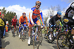 The chasing peloton including Lars Boom and Bauke Mollema (NED) Rabobank climb Cote de la Roche-en-Ardenne during the 98th edition of Liege-Bastogne-Liege, running 257.5km from Liege to Ans, Belgium. 22nd April 2012.  <br /> (Photo by Eoin Clarke/NEWSFILE).
