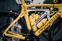 yet another personalised yellow bike (personnally signed by Fausto 'FP' Pinarello) for Chris Froome (GBR/SKY) at the last stage start of the 104th Tour de France 2017 in Montgeron<br /> <br /> Stage 21 - Montgeron › Paris (105km)