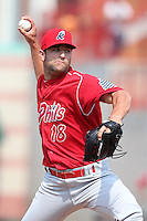 Reading Phillies relief pitcher Jordan Ellis #18 delivers a pitch during a game against the Erie Seawolves at Jerry Uht Park on May 29, 2011 in Erie, Pennsylvania.  Erie defeated Reading 6-5 in ten innings.  Photo By Mike Janes/Four Seam Images