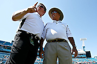 September 27, 2008,  FSU vs Colorado at Jacksonville Municipal Stadium in Jacksonville, Florida..Head coaches of Colorado, Dan Hawkins (L) and FSU head coach Bobby Bowden talk prior to the start of a non-conference game.  Coach Bowden is coaching his 500th game.   .