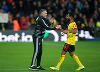 Watford manager Nigel Pearson & Adrian Mariappa of Watford at full time during the Premier League match between Watford and Manchester United at Vicarage Road, Watford, England on 22 December 2019. Photo by Andy Rowland.
