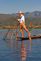 Myanmar, Burma.  Fisherman Setting his Fishnet in Place while holding his paddle with one leg, in the style common to Inle Lake, Shan State.