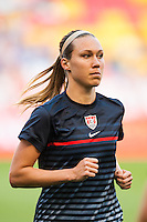 United States (USA) defender Whitney Engen (14) during warmups. The women's national team of the United States defeated the Korea Republic 5-0 during an international friendly at Red Bull Arena in Harrison, NJ, on June 20, 2013.