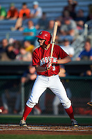 Auburn Doubledays outfielder Andrew Stevenson (3) at bat during a game against the State College Spikes on July 6, 2015 at Falcon Park in Auburn, New York.  State College defeated Auburn 9-7.  (Mike Janes/Four Seam Images)