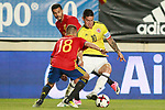 Spain's Jordi Alba (l) and Pedro Rodriguez (c) and Colombia's James Rodriguez during international friendly match. June 7,2017.(ALTERPHOTOS/Acero)