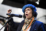 © Joel Goodman - 07973 332324 . 12/11/2016 . Manchester , UK . BIANCA JAGGER speaks at a rally in Castlefield . Approximately 2000 people march and rally against Fracking in Manchester City Centre . Photo credit : Joel Goodman