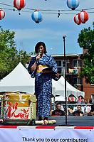 Fetes Gourmandes 2011, au Musee Pointe-a-Calliere.<br /> <br /> Montreal (Qc) CANADA - August 13, 2011 -Jennifer Sakai, Présidente du Matsuri-Japon a  bien sûr souhaité à tous la Bienvenue au 10ième anniversaire du Matsuri Japon et à mentionné que même si ''la communauté Japonaise à Montréal n'est pas très grande, chaque année notre festival attire de plus en plus de visiteurs.''. Elle aussi à pris le temps de remercier tous les individus impliqués dans l'événement.