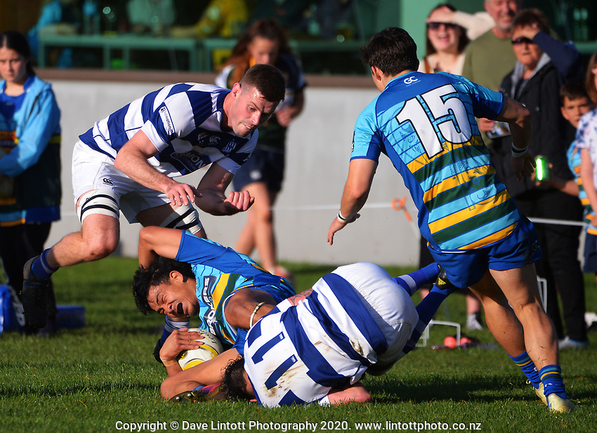 Action from the Taranaki premier club rugby match between Clifton and Tukapa at Clifton RFC in Tikorangi, New Zealand on Saturday, 12 June 2020. Photo: Dave Lintott / lintottphoto.co.nz