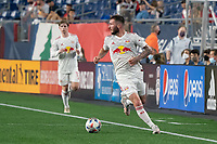 FOXBOROUGH, MA - MAY 22: Thomas Edwards #7 of New York Red Bulls during a game between New York Red Bulls and New England Revolution at Gillette Stadium on May 22, 2021 in Foxborough, Massachusetts.