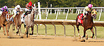 July 12, 2014: Belle Gallantey, Jose Ortiz up, wins the Grade I Delaware Handicap at Delaware Park in Stanton Delaware. Favorite Princess of Sylmar (far left, #6) finished second. Trainer is Rudy Rodriguez; Owners are Michael Dubb, Bethlehem Stabes LLC and Gary Aisquith ©Joan Fairman Kanes/ESW/CSM