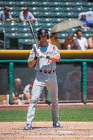 Drew Stubbs (24) of the Albuquerque Isotopes at bat against the Salt Lake Bees in Pacific Coast League action at Smith's Ballpark on June 28, 2015 in Salt Lake City, Utah. The Isotopes defeated the Bees 8-3. (Stephen Smith/Four Seam Images)