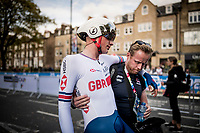 Leo Hayter (GBR) near collapsing after finishing the Men Junior Individual Time Trial<br /> <br /> 2019 Road World Championships Yorkshire (GBR)<br /> <br /> ©kramon