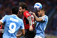 Davide Calabria of AC Milan and Mattia Zaccagni of SS Lazio compete for the ball during the Serie A 2021/2022 football match between AC Milan and SS Lazio at Giuseppe Meazza stadium in Milano (Italy), August 29th, 2021. Photo Image Sport / Insidefoto