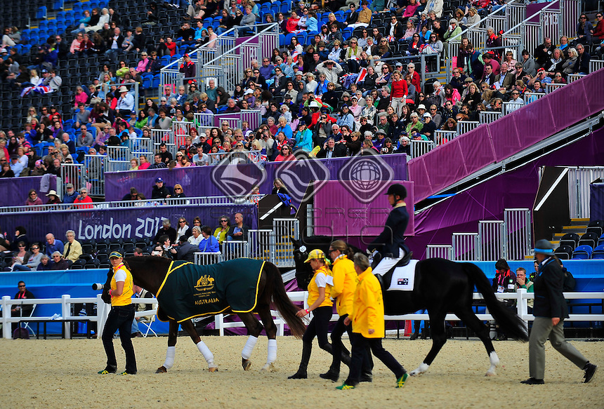 Rob Oakley (AUS) competes in the Dressage Individual, Team Test - Grade Ia with his horse Statford Mantovani.<br />  Individual, Team Test - Grade III<br /> Equestrian (Friday 31st Aug) - Greenwich Park<br /> Paralympics - Summer / London 2012 <br /> London, England 29 Aug - 9 Sept<br /> © Sport the library/Courtney Crow