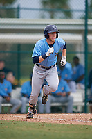 Tampa Bay Rays left fielder Jake Fraley (8) runs to first base during an Instructional League game against the Pittsburgh Pirates on October 3, 2017 at Pirate City in Bradenton, Florida.  (Mike Janes/Four Seam Images)