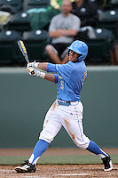 Kevin Williams #5 of the UCLA Bruins bats against the Oregon Ducks at Jackie Robinson Stadium on April 6, 2012 in Los Angeles,California. Oregon defeated UCLA 8-3.(Larry Goren/Four Seam Images)