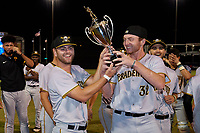 Bradenton Marauders Nick Dombkowski (12) and Alex Roth (32) celebrate after clinching the Low-A Southeast Championship Series with a sweep of the Tampa Tarpons on September 24, 2021 at George M. Steinbrenner Field in Tampa, Florida.  (Mike Janes/Four Seam Images)