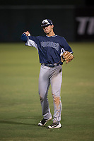 AZL Padres 2 right fielder Payton Smith (50) warms up between innings of an Arizona League game against the AZL Angels at Tempe Diablo Stadium on July 18, 2018 in Tempe, Arizona. The AZL Padres 2 defeated the AZL Angels 8-1. (Zachary Lucy/Four Seam Images)