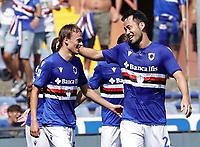 12th September 2021; G.Ferraris Stadium, Genoa, Italy; Serie A football, Sampdoria versus Inter Milan; Maya Yoshida of Sampdoria celebrates after scoring his gol for 1-1 in the 32nd  minute