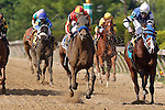 May 17, 2013, Fiftyshadesofhay (#3, red and yellow cap), Joel Rosario up, wins the Black-Eyed Susan Stakes at Pimlico Race Course in Baltimore, MD. Trainer is Bob Baffert. (Joan Fairman Kanes/Eclipse Sportswire)