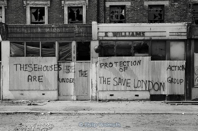 1975: demolition of shops and houses in Kensal Road, North Kensington.