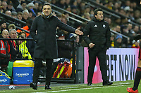 (L-R) Swansea manager Carlos Carvalhal and Watford manager Marco Silva stand on the touch line during the Premier League match between Watford and Swansea City at the Vicarage Road, Watford, England, UK. Saturday 30 December 2017