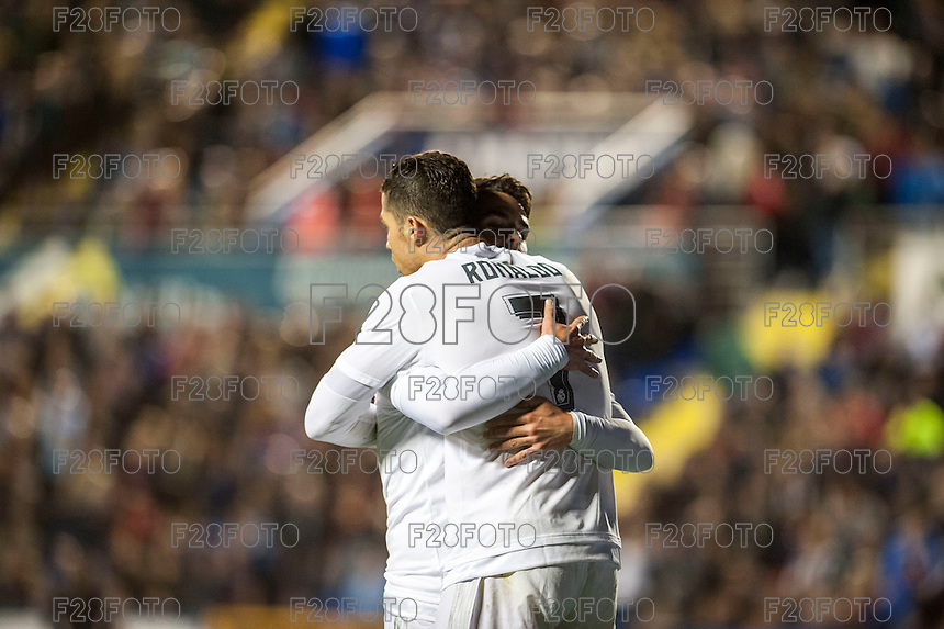 VALENCIA, SPAIN - MARCH 2: Isco and Ronaldo celebrating the 3rd Madrid goalduring BBVA League match between VLevante U.D. and R. Madrid at Ciudad de Valencia Stadium on March 2, 2015 in Valencia, Spain