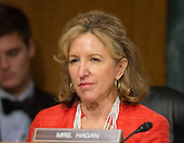 """United States Senator Kay Hagan (Democrat of North Carolina), a member of the U.S. Senate Committee on Banking, Housing and Urban Affairs, listens to testimony from Janet L. Yellen, Chair, Board of Governors of the Federal Reserve System (not pictured), on """"The Semiannual Monetary Policy Report to the Congress."""" on Capitol Hill in Washington, D.C. on Tuesday, July 15, 2014.<br /> Credit: Ron Sachs / CNP"""