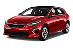 2019 KIA Ceed Fusion Door Hatchback Angular Front stock photos of front three quarter view