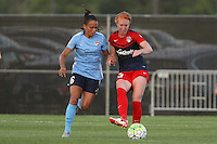 Piscataway, NJ - Saturday July 23, 2016: Taylor Lytle, Tori Huster during a regular season National Women's Soccer League (NWSL) match between Sky Blue FC and the Washington Spirit at Yurcak Field.