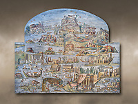 Pictures of the famous Nilotic landscape Palestrina Mosaic or Nile mosaic of Palestrina of the Museo Archeologico Nazionale di Palestrina Prenestino  (Palestrina Archaeological Museum), Palestrina, Italy. Measuring 5.85 m wide by 4.31 m high ( 19 ft wide x 14 ft high). 1st or 2nd century BC. Against an art background.<br /> <br /> The Nile mosaic of Palestrina can be attributed to Alexandrian artists who were certainly present in Italy during the 2nd century BC. The mosaic depicts the Nile in flood and artificially compresses the length of the river into a series of zig zags. The top part of the mosaic represents Ethiopia and Nubia at the source of the Nile. The river flows down steep slopes between black hunters and African animals. The Nile flows to the bottom right hand corner of the mosaic where the harbour of Alexandria is depicted and right in the bottom right corner is the Island of the Pharos opposite which is a banqueting scene, possibly at Canopus. <br /> <br /> In the centre of the mosaic is a large Egyptian temple possibly the great sanctuary of Memphis or Karnak. The Mosaic though is dotted with Greek temples of the Greek ruling Ptolemy family who displaced the Pharos.