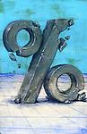 Illustrative image of damaged percentage sign representing low profits
