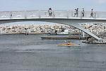 At the Milwaukee Lakefront on Lake Michigan visitors are enjoying the decorative bridge and kayaking the lake
