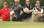 Colin Montgomerie splashes out of sand on the 16th hole during the 2nd round of the ISPS Handa Wales Open 2012...01.06.12.©Steve Pope