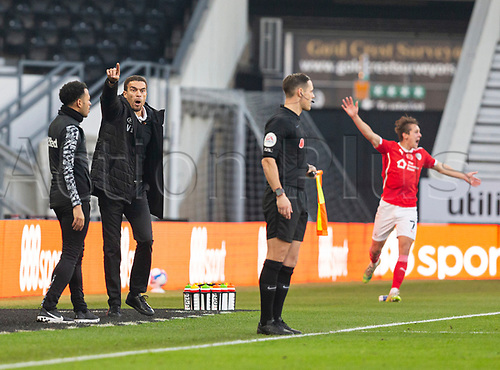 7th November 2020; Pride Park, Derby, East Midlands; English Football League Championship Football, Derby County versus Barnsley; Barnsley Head Coach Valerien Ismael complains about a decision from the linesman